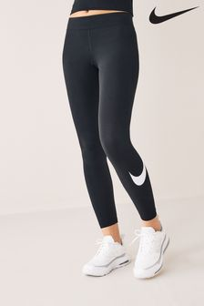 Nike - Zwarte Sportswear Essential legging met halfhoge taille en swooshlogo