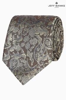 Jeff Banks Yellow Baroque Floral Design Silk Tie
