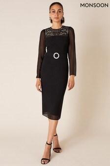 שמלת שיפט שלMonsoon דגם Donatella בשחור עם עיטורים