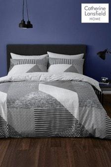 Catherine Lansfield Grey/Black Larson Geo Duvet Cover and Pillowcase Set