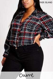 River Island Black Plus Size Check Shirt