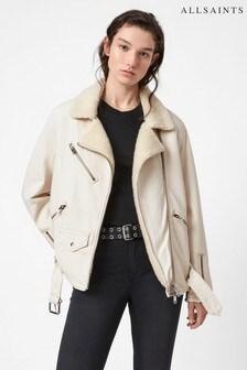 AllSaints Natural White Oversized Denim Jacket
