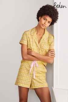 Boden Phoebe Pyjamashorts, Gelb