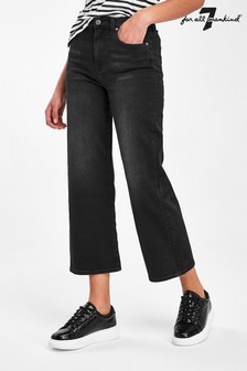 7 For All Mankind Black Alexa Straight Crop Jeans