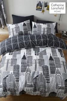 Catherine Lansfield City Life Set mit Bett- und Kissenbezügen, Grau