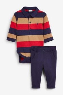 סט מכנסי כותנה וחולצתPolobody עם פסים (0 חודשים עד גיל 3)