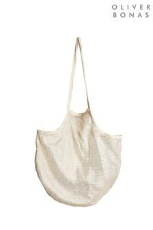 Oliver Bonas Gold Metallic Niki Net Fabric Shopper Bag