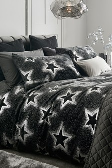 Fleece Foiled Metallic Star Duvet Cover and Pillowcase Set