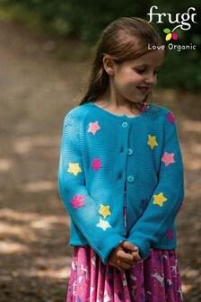 Frugi GOTS Organic Knitted Cardi - Teal Rainbow Stars