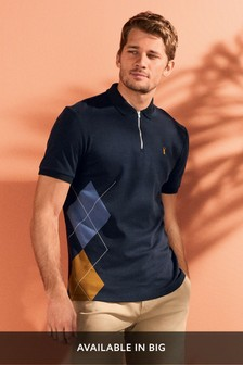 Argyle Print Zip Neck Polo
