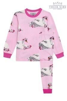 Their Nibs Girls Pink Swan Slim Fit Pyjamas Set