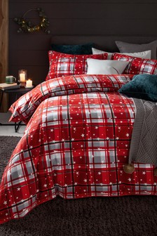Red 100% Brushed Cotton Red Check Duvet Cover and Pillowcase Set