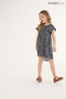 Oasis Kleid mit Blümchenmuster, Marineblau
