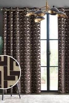 Collection Luxe Fretwork Velvet Eyelet Curtains