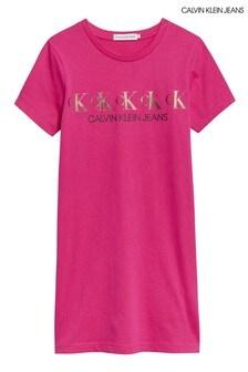 فستان تيشيرت وردي معدنيCK منCalvin Klein Jeans