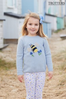 Trotters London Blue Bumble Bee Jumper