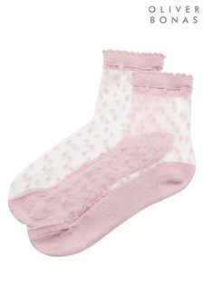 Oliver Bonas Pink Dotty Tonal Confetti Ankle Socks