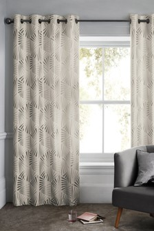 Ava Deco Metallic Jacquard Eyelet Curtains