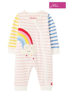 Joules White Winfield Organically Grown Cotton Zip Sleepsuit