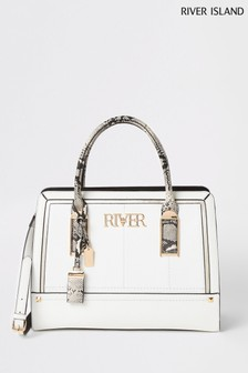 River Island White Snake Open Tote Bag