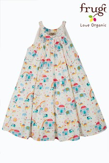 فستان بتنورة ممتلئة عضوي منFrugi - أبيض طبعة الهند