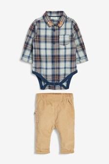Комплект из рубашки в клетку и вельветовых брюк (0 мес. - 2 лет)