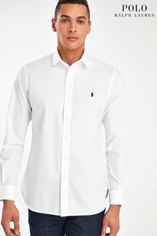 Polo Ralph Lauren Stretch-Hemd mit Logo in Custom Fit, Weiss