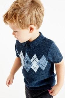 菱格紋圖案針織Polo衫 (3個月至7歲)