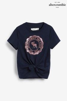 Abercrombie & Fitch ネイビー ラージロゴ入り Tシャツ