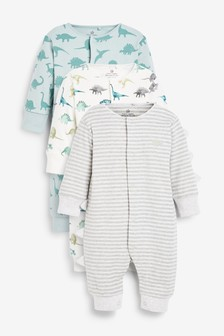 3 Pack Stripe Dinosaur Footless Sleepsuits (0mths-3yrs)