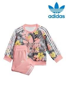adidas Originals Infant Pink Tropical Crew And Jogger Set