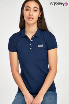 Polo Superdry bleu marine chiné