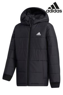 Черная дутая куртка adidas