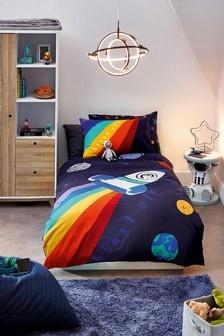 Wendbarer Bettbezug und Kissenbezug Rakete