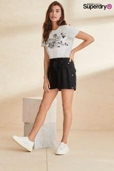 מכנסיים קצרים של Superdry דגם Paperbag Waist בשחור
