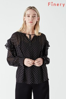 Finery Black Nyla Polka Dot Blouse