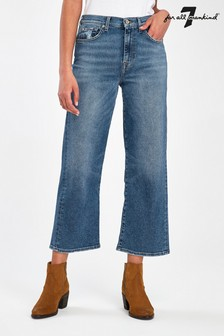 7 For All Mankind Vintage Blue Alexa Straight Crop Jeans