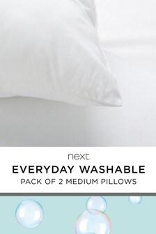 Everyday Washable Set Of 2 Medium Pillows