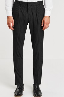 Stripe Pleated Tapered Slim Fit Trousers