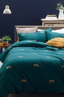 Teal Embroidered Tigers Duvet Cover and Pillowcase Set