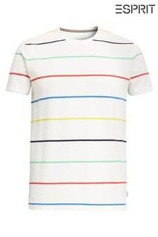 חולצת טי עם פסים של Esprit בבז'