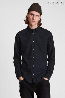 AllSaints Mens Black Elmra Flecked Shirt