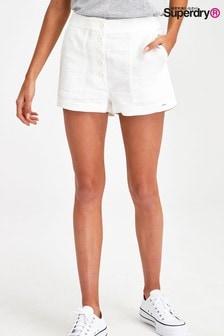 מכנסיים קצרים מפשתן של Superdry בצבע לבן