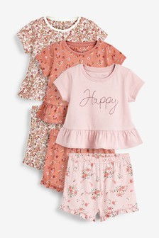 3 Pack Floral/Happy Short Pyjamas (9mths-12yrs)