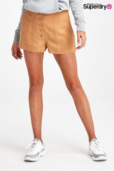 מכנסיים קצרים מפשתן של Superdry בצבע חום בהיר