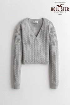 Cardigan Hollister slim court en maille point de Rome