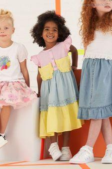 Angel & Rocket Gestuftes Kleid mit Farbblockdesign