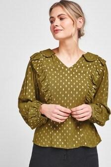 Блузка с блестящим воротником