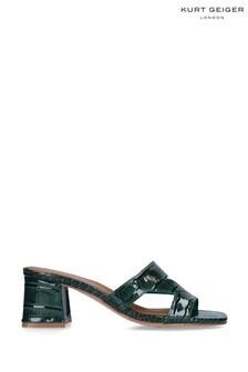 Kurt Geiger London Odina Block Green Croc Print Heels Shoes