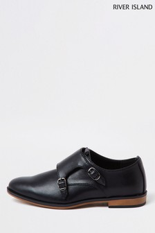 River Island Black Velcro Monk Strap Shoes